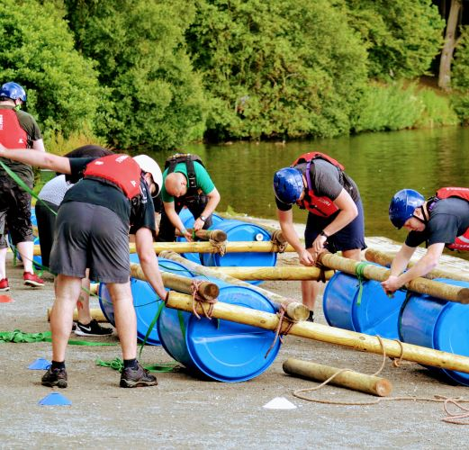 Raft Building at Talkin Tarn, near the Lake District
