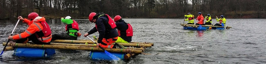 Raft building team building event at Talkin Tarn near Carlisle
